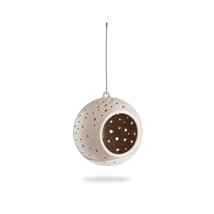 Nobili tealight candle ball Ø 12 cm hanging from Kähler design in warm grey