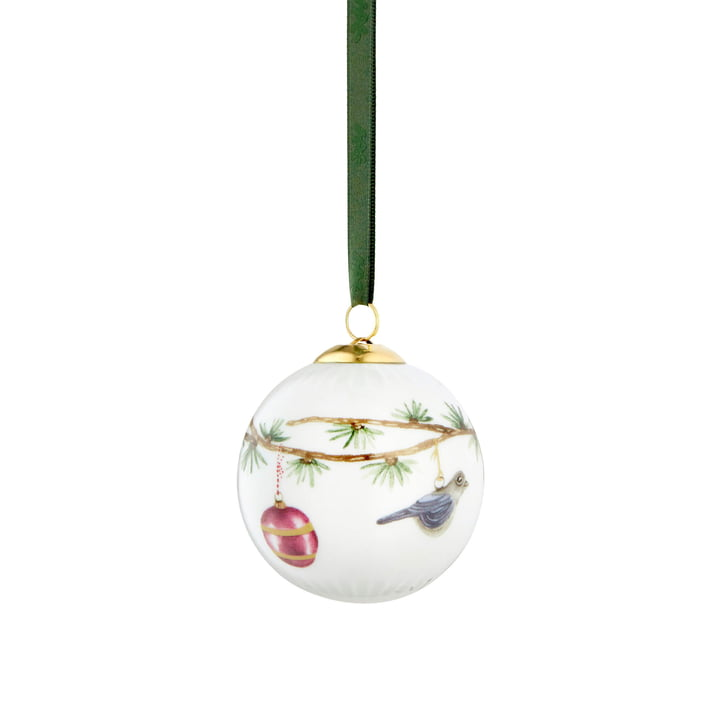 Hammershøi Jul Christmas ball white with decoration 2019 by Kähler Design