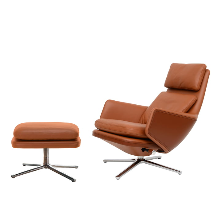 Grand Relax armchair & Ottoman by Vitra in aluminium polished / leather Premium cognac (felt glider)