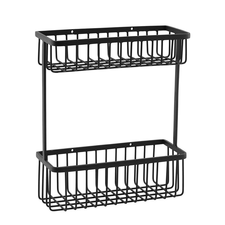 Basket Bathroom Storage, double / black by House Doctor