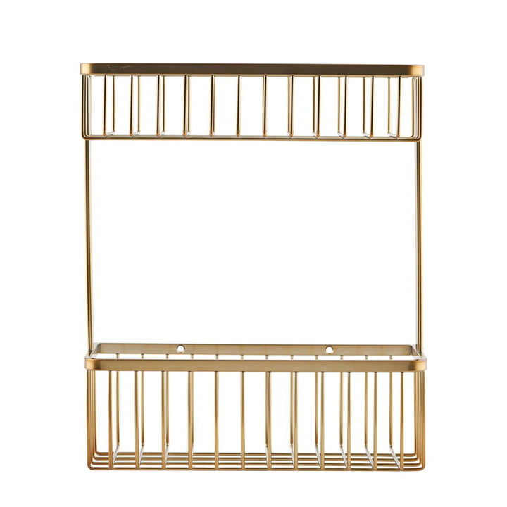 Basket Bathroom Storage, double / Brass by House Doctor