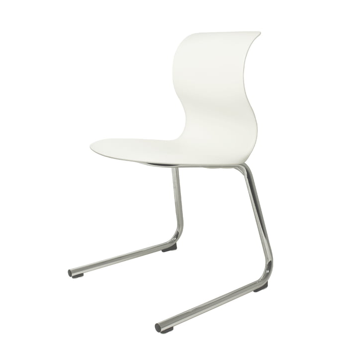 Pro 6 C-frame by Flötotto in chrome with seat shell snow white (RAL 9002)
