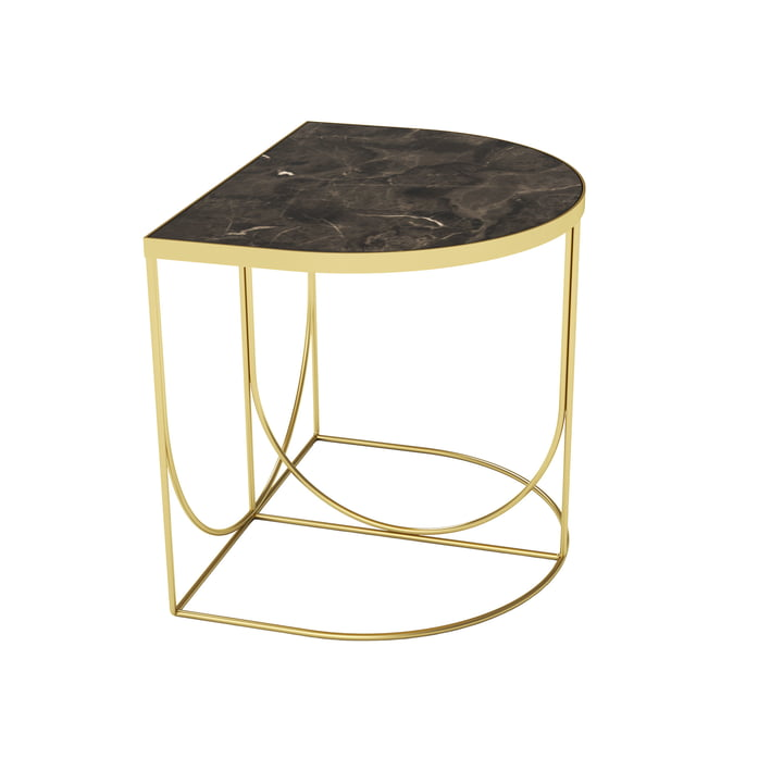 Sino side table 40 x 50 cm from AYTM in gold / marble brown