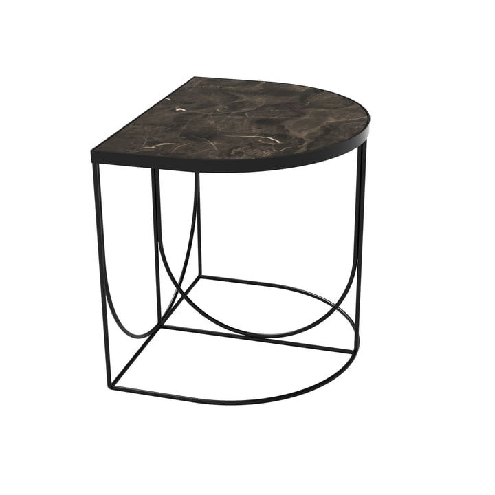 Sino Side table 40 x 50 cm from AYTM in black / marble brown