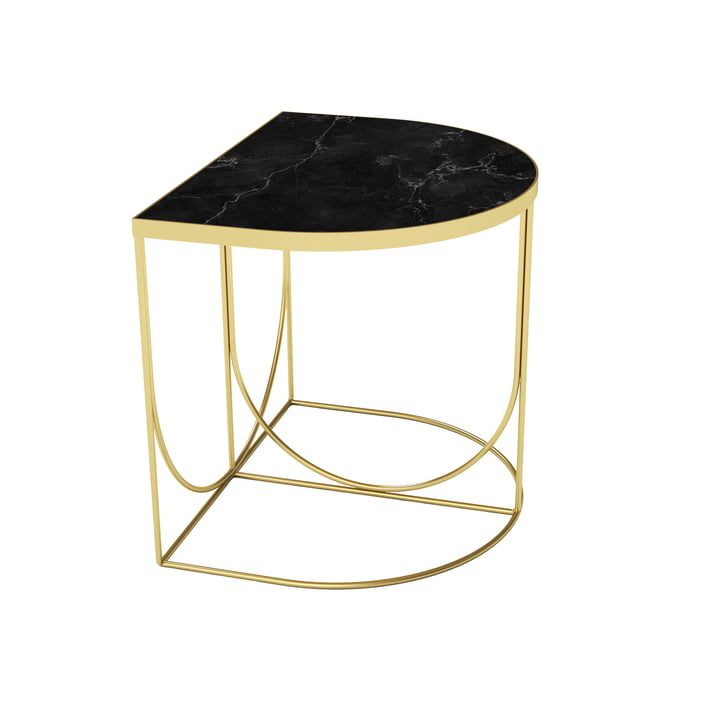 Sino side table 40 x 50 cm from AYTM in gold / marble black
