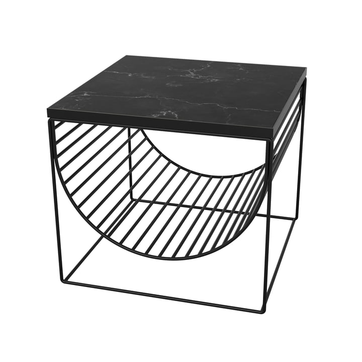 Sino table / magazine holder by AYTM in black / marble black