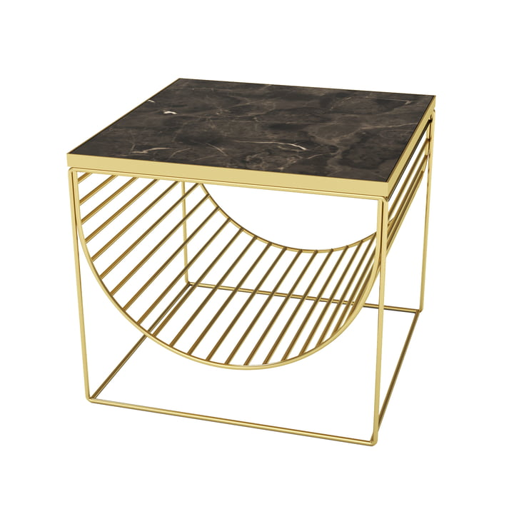 Sino table / magazine holder by AYTM in gold / marble brown