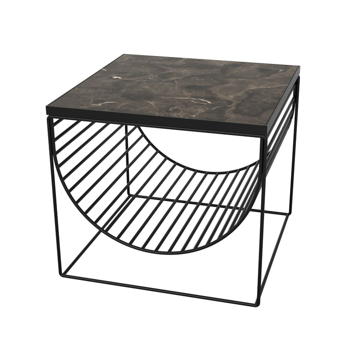 Sino table / magazine holder by AYTM in black / marble brown