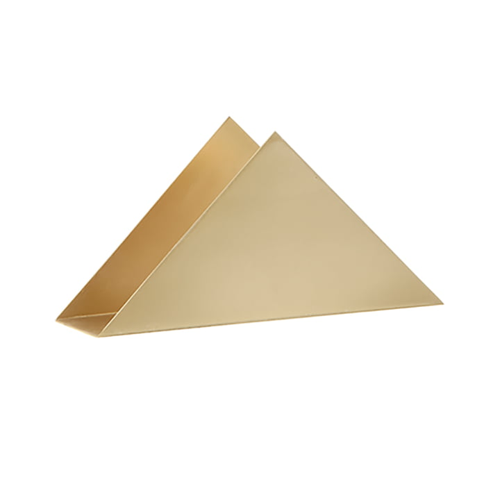 Triangle napkin holder from ferm Living in brass