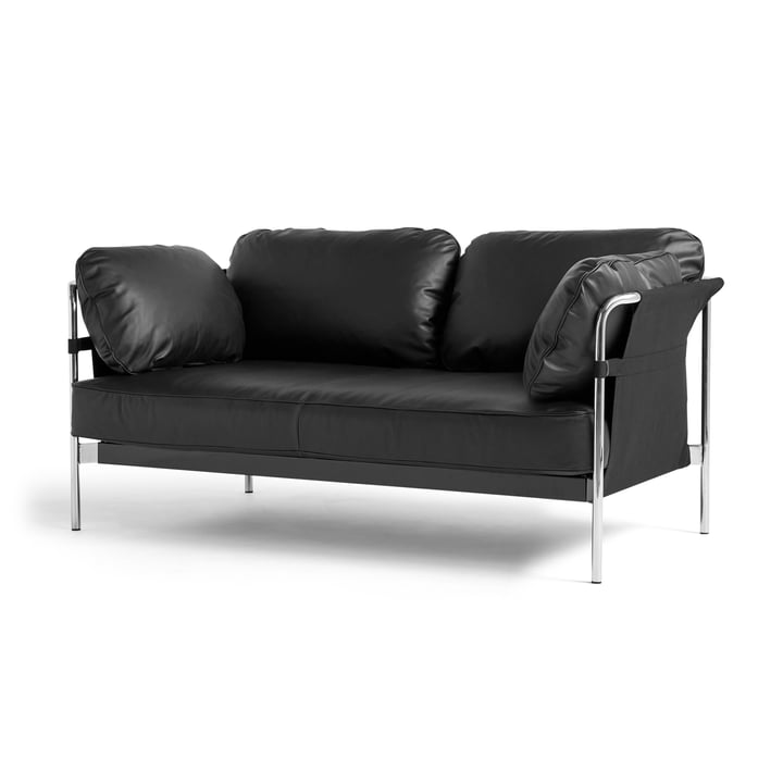 Can 2. 0 Sofa 2-seater by Hay in chrome / Canvas black / Silk black SIL0842