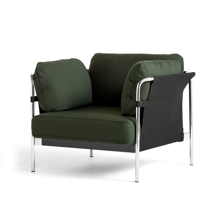 Can 2. 0 armchair by Hay in chrome / Canvas black / Steelcut 975 dark green