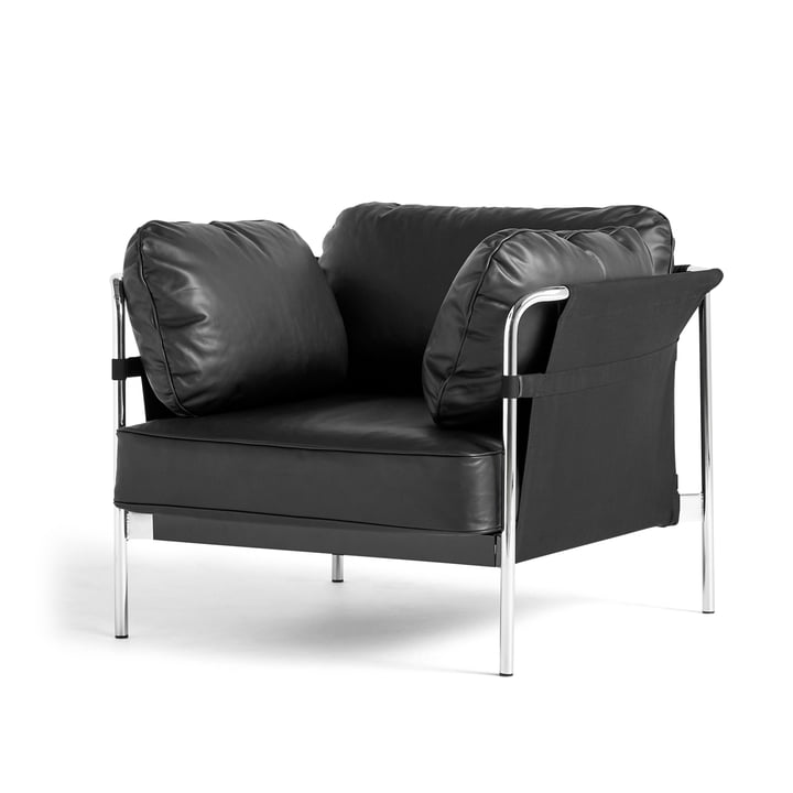 Can 2. 0 armchair by Hay in chrome / Canvas black / Silk black SIL0842
