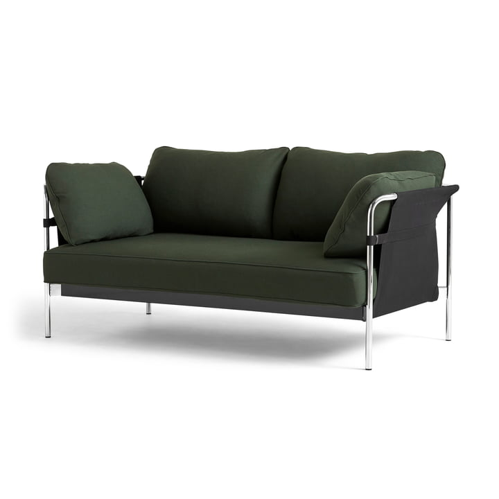 Can 2. 0 Sofa 2-seater by Hay in chrome / Canvas black / Steelcut 975 dark green