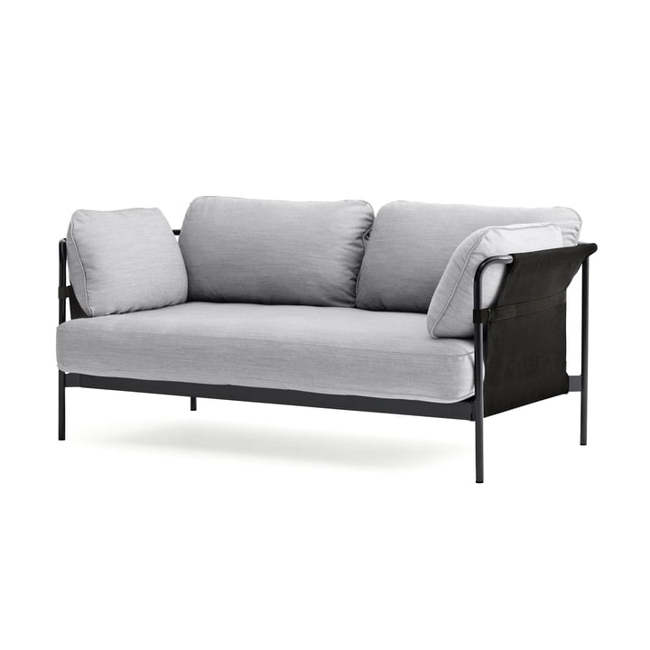 Can 2. 0 Sofa 2-seater by Hay in chrome / Canvas grey / Surface 120 light grey