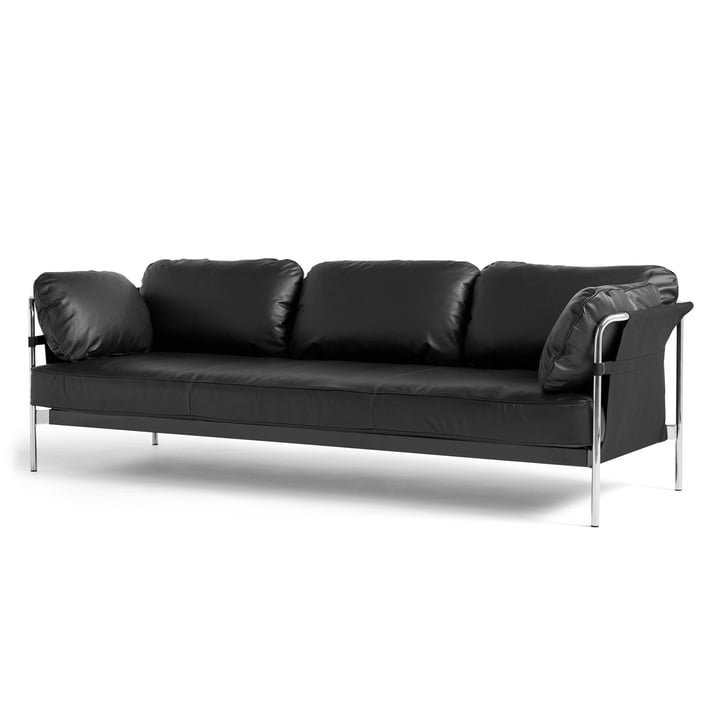 Can 2. 0 Sofa 3-seater from Hay in chrome / Canvas black / Silk black SIL0842