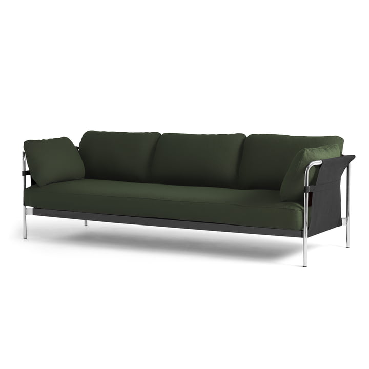 Can 2. 0 Sofa 3-seater by Hay in chrome / Canvas black / Steelcut 975 dark green