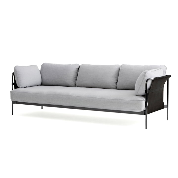 Can 2. 0 Sofa 3-seater from Hay in chrome / Canvas grey / Surface 120 light grey