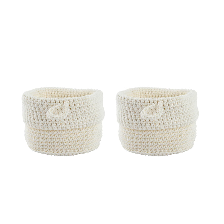 Knitted basket Ø 11 x H 13 cm from Zone Denmark in white (set of 2)
