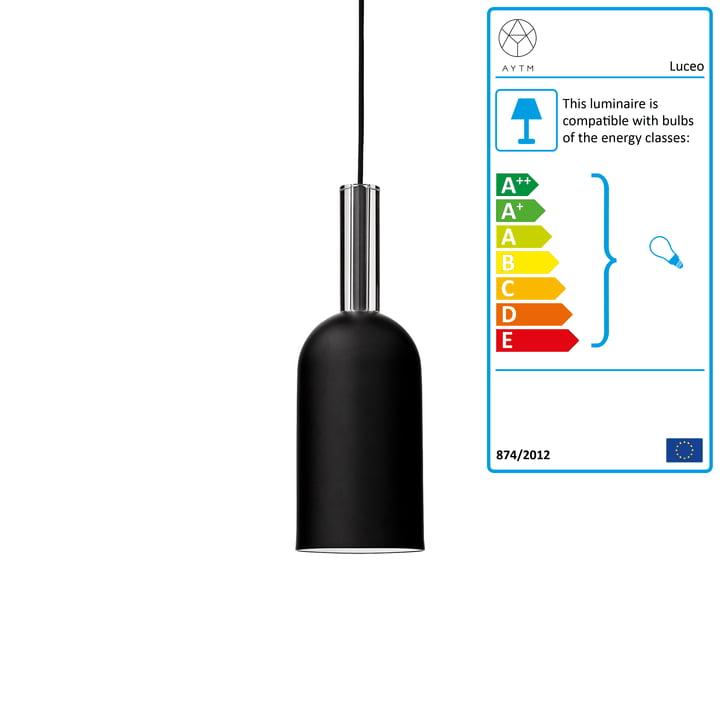 Luceo pendant lamp, Ø 12 x H 35 cm, black / clear by AYTM