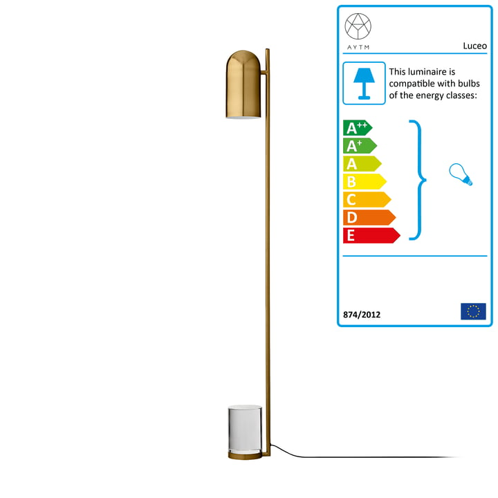 Luceo floor lamp, Ø 12 x H 140 cm, gold / clear by AYTM