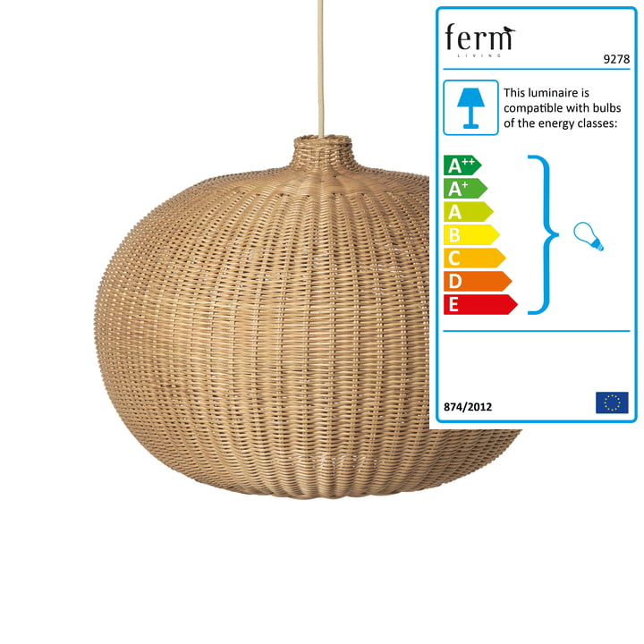 Belly woven rattan lamp from ferm Living in nature