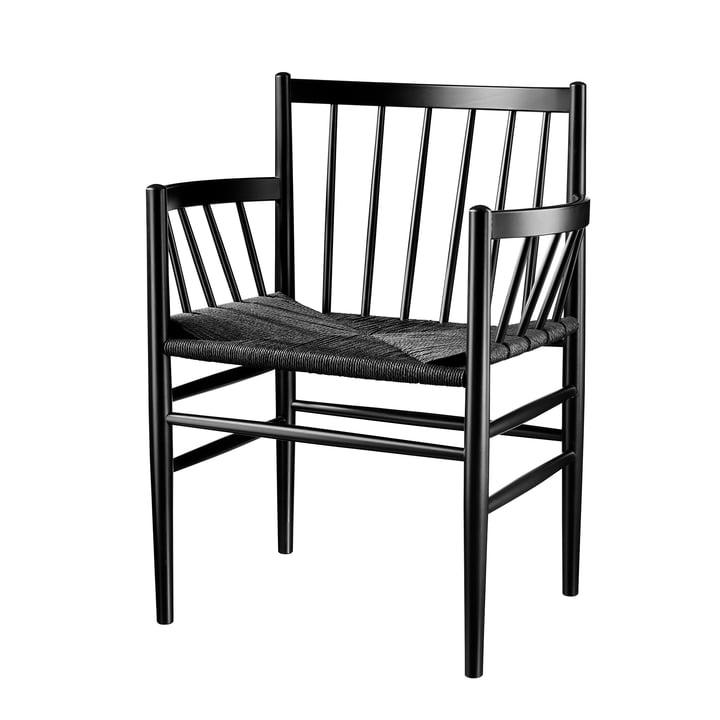 J81 Armchair, black lacquered beech / natural black mesh by FDB Møbler