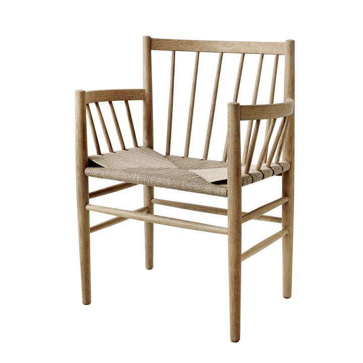 J81 Armchair, matt lacquered oak / natural wickerwork by FDB Møbler