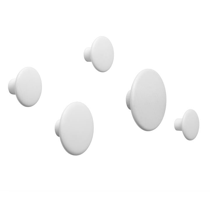 "Wall hook ""The Dots"" set of 5 by Muuto in white"