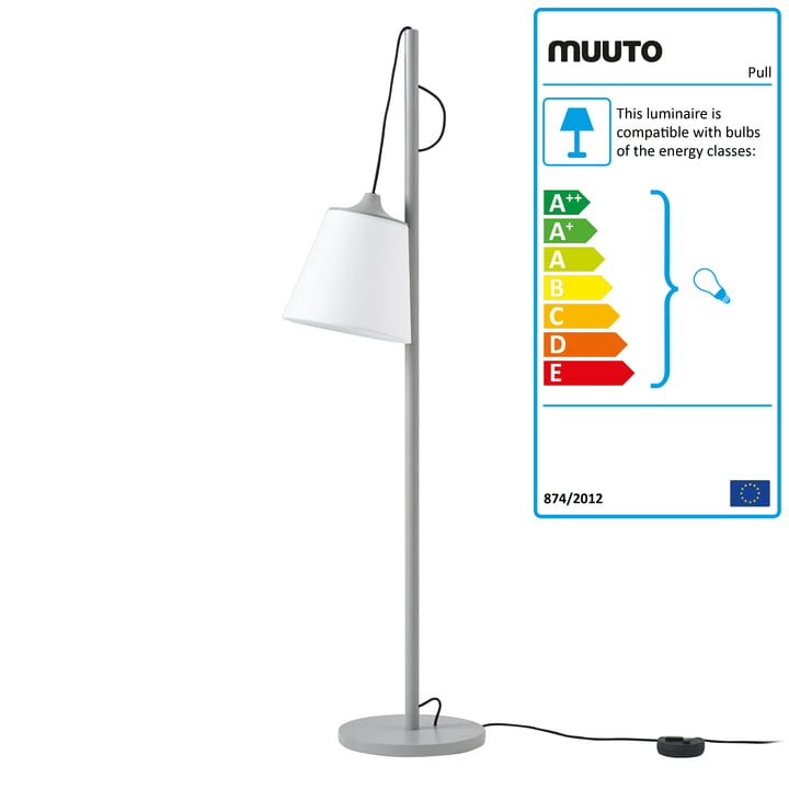 Pull floor lamp from Muuto in grey / white