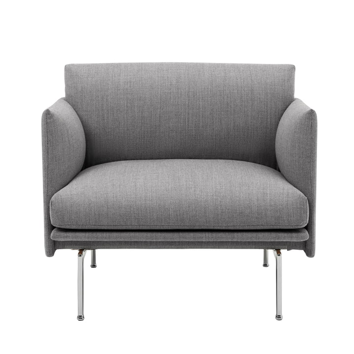 Outline Studio armchair by Muuto in gray (fiord 151) / polished aluminum