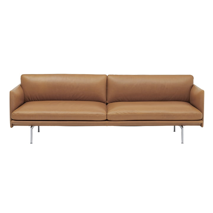 Outline Sofa 3-seater from Muuto in cognac Refine Leather / polished aluminium