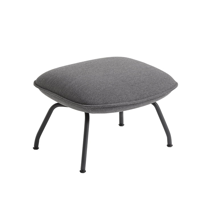 Doze Ottoman by Muuto with base anthracite-black / cover grey (Ocean 80)