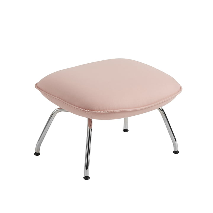 Doze Ottoman by Muuto with base chrome / cover pink (Forest Nap 512)