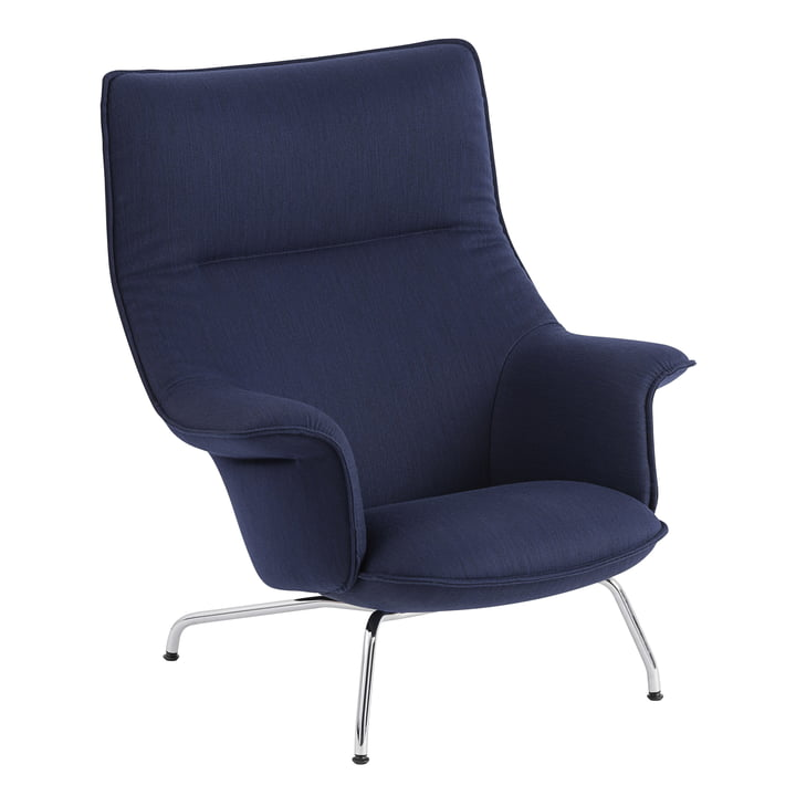 Doze Lounge Chair by Muuto with base chrome / cover dark blue (Balder 782)