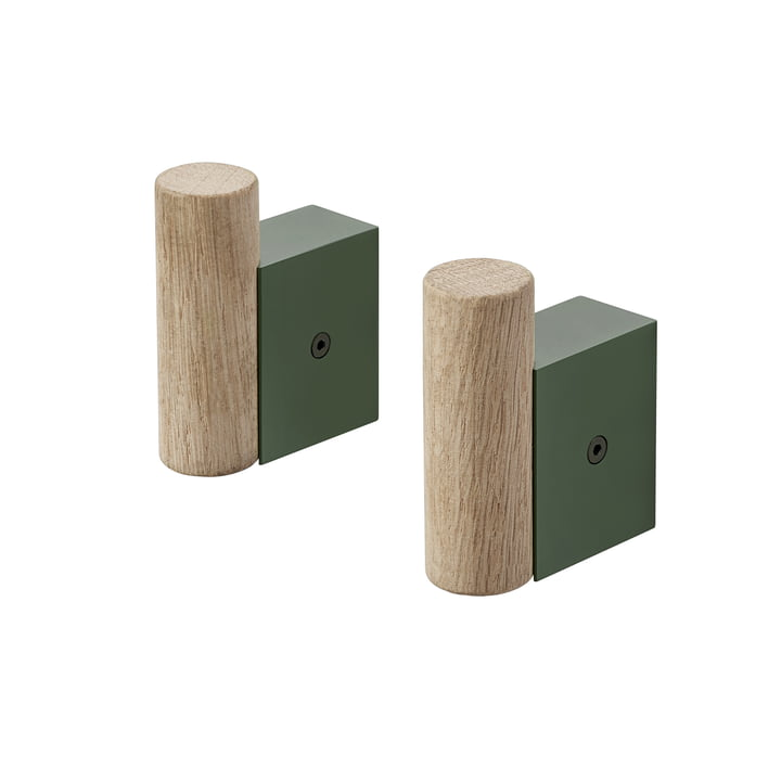 Attach wall hook by Muuto in oak / dark green (set of 2)