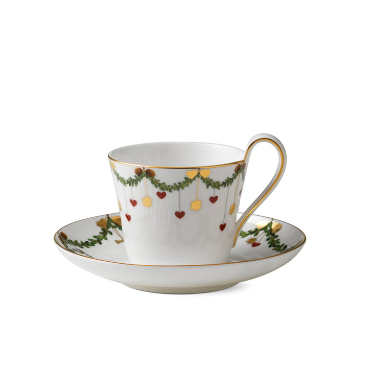 Star Fluted Christmas Coffee cup with high handle 24 cl (2 pieces) from Royal Copenhagen
