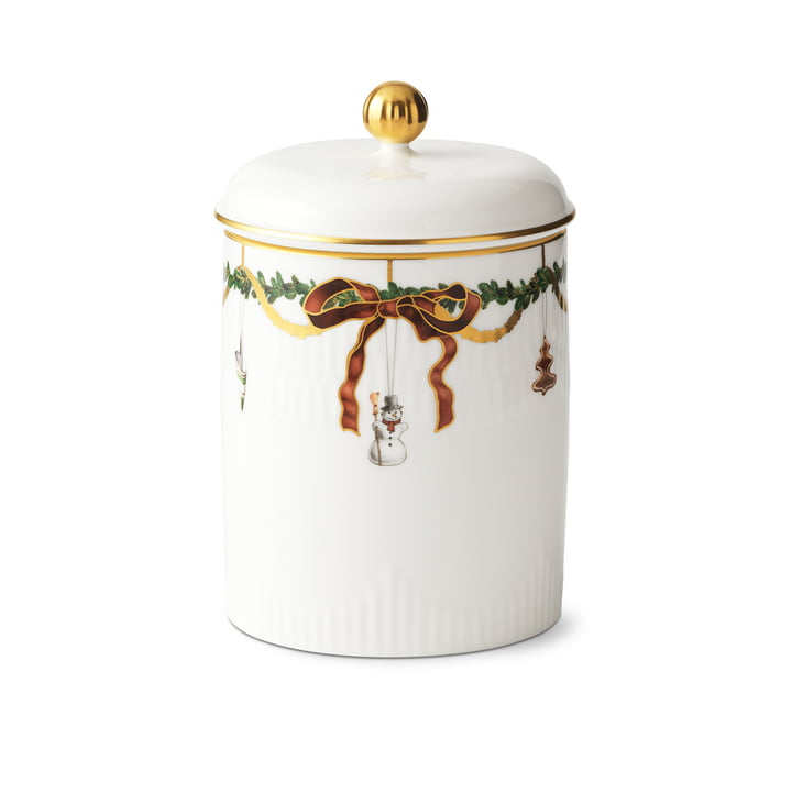 Star Fluted Christmas tin with lid 16 cm from Royal Copenhagen