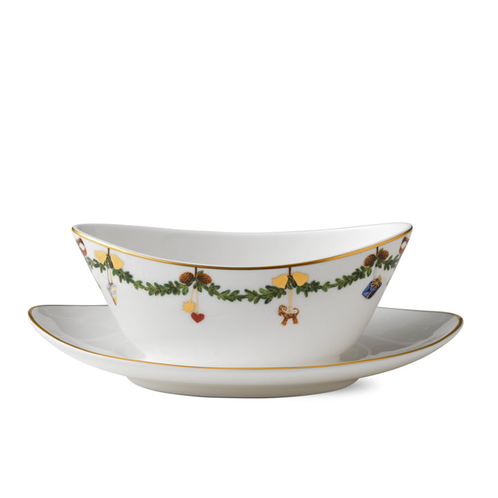 Royal Copenhagen - Star Fluted Christmas Sauceboat with saucer, 43 cl