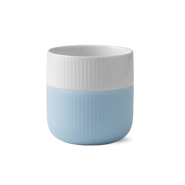 Fluted Contrast cup ribbed 33 cl from Royal Copenhagen in dove blue