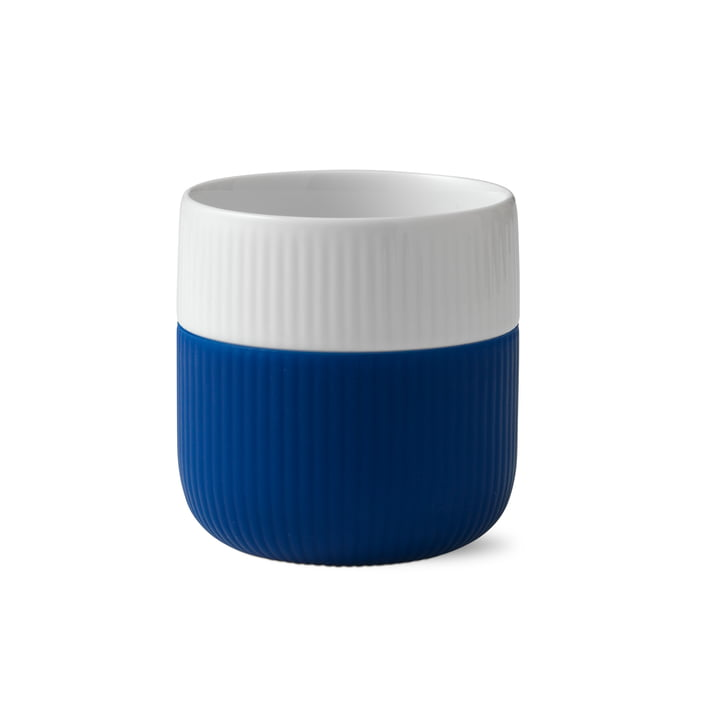 Fluted Contrast cup ribbed 33 cl from Royal Copenhagen in mega blue