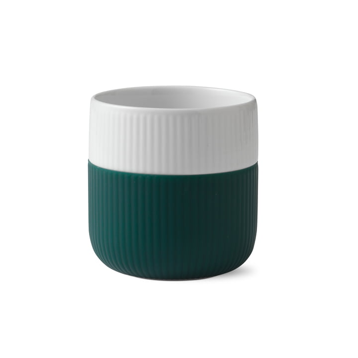 Fluted Contrast cup ribbed 33 cl from Royal Copenhagen in petrol