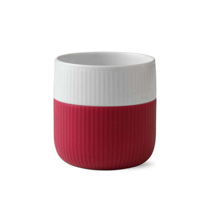 Fluted Contrast cup ribbed 33 cl of Royal Copenhagen in raspberry