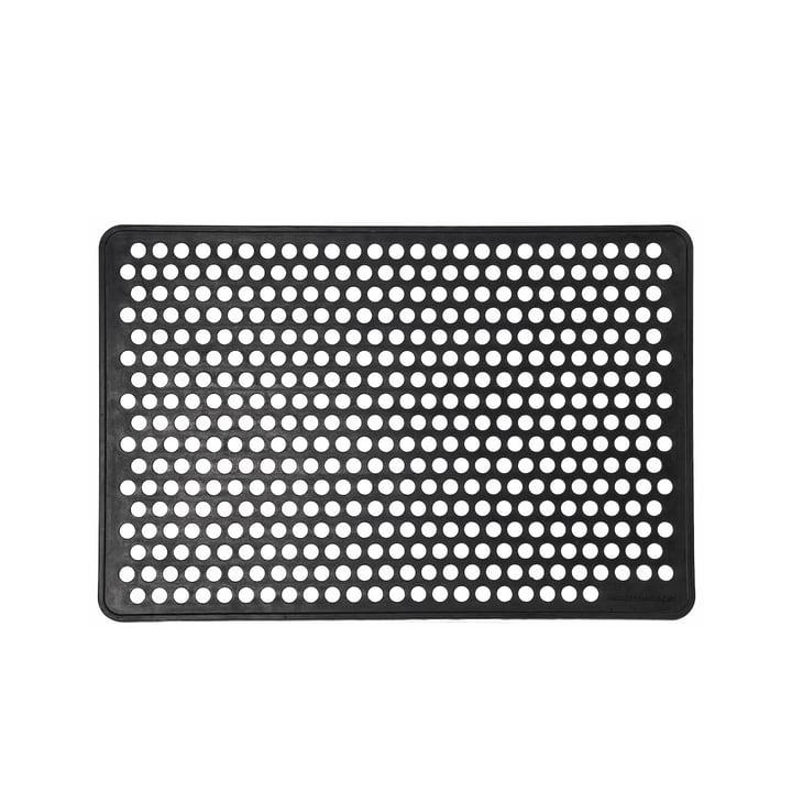Rubber foot doormat 60 x 90 cm from tica copenhagen in dot / black