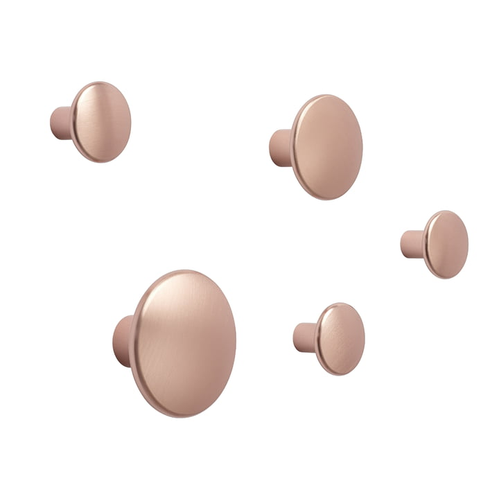 """Wall hook """"The Dots Metal"""" set of 5 by Muuto in pink"""