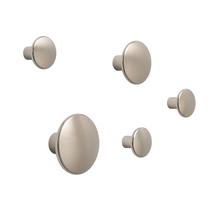 "Wall hook ""The Dots Metal"" set of 5 by Muuto in taupe"