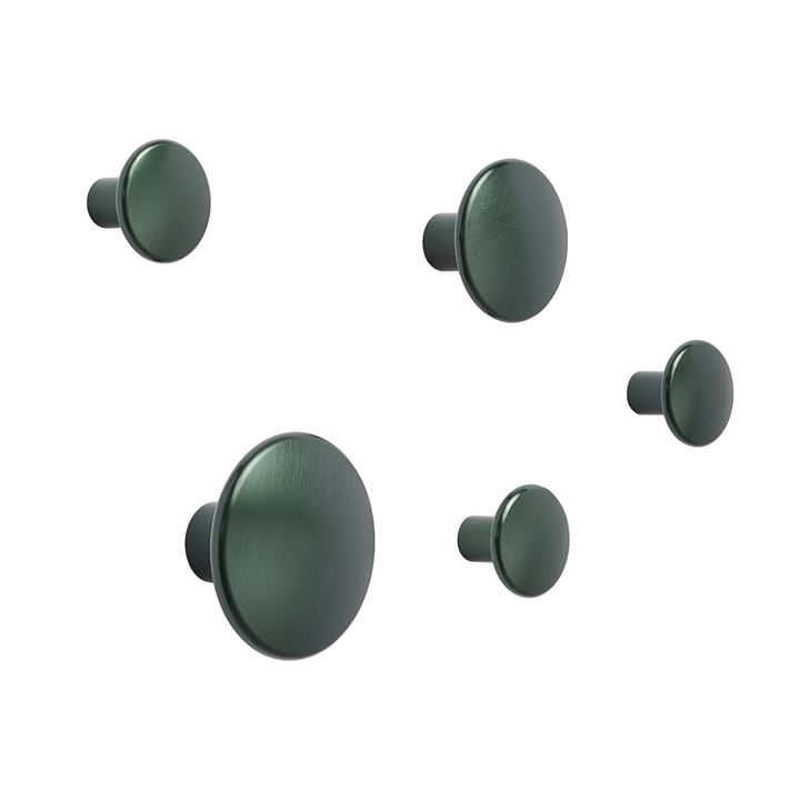 "Wall hook ""The Dots Metal"" Set of 5 by Muuto in dark green"
