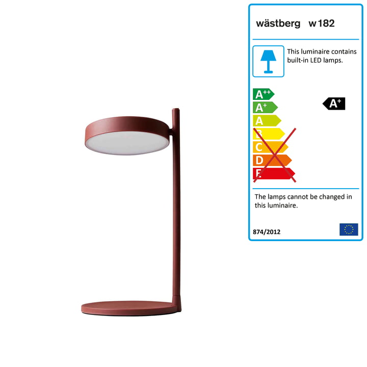 w182 Pastille LED table lamp b2 from Wästberg in oxide red