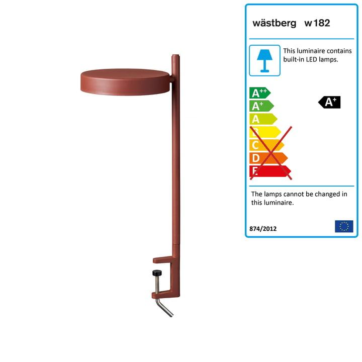 w182 Pastille LED clamp light c2 from Wästberg in oxide red