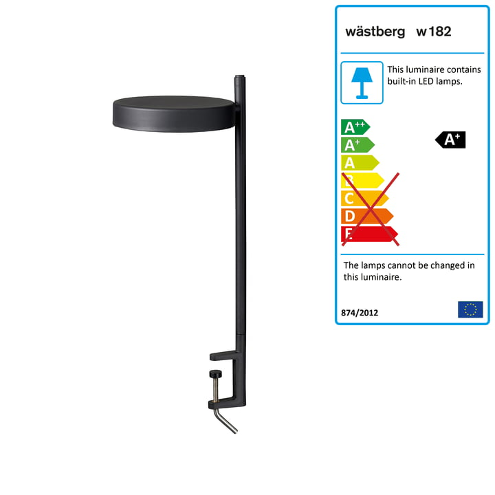 w182 Pastille LED clamp light c2 from Wästberg in graphite black