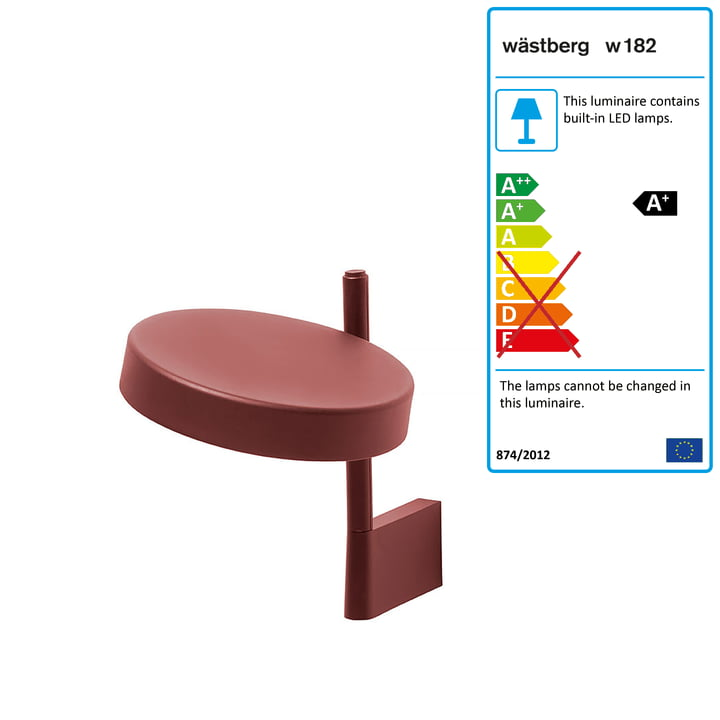 w182 Pastille LED wall light br1 from Wästberg in oxide red